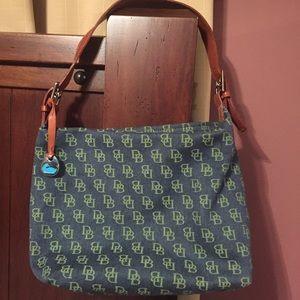 Dooney and Bourke purse blue monogrammed cloth